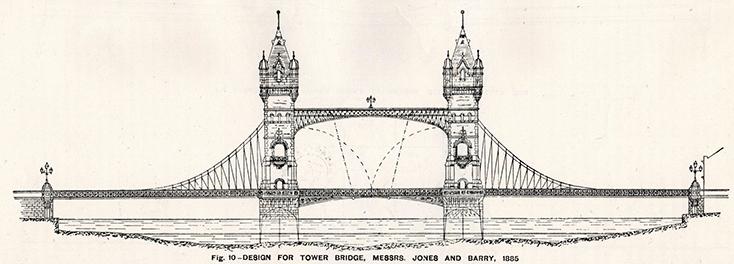 Первоначальный план Таэурского моста, башни изображены в варианте кирпичной кладке.